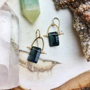 14k Gold Teal Quartz Earrings
